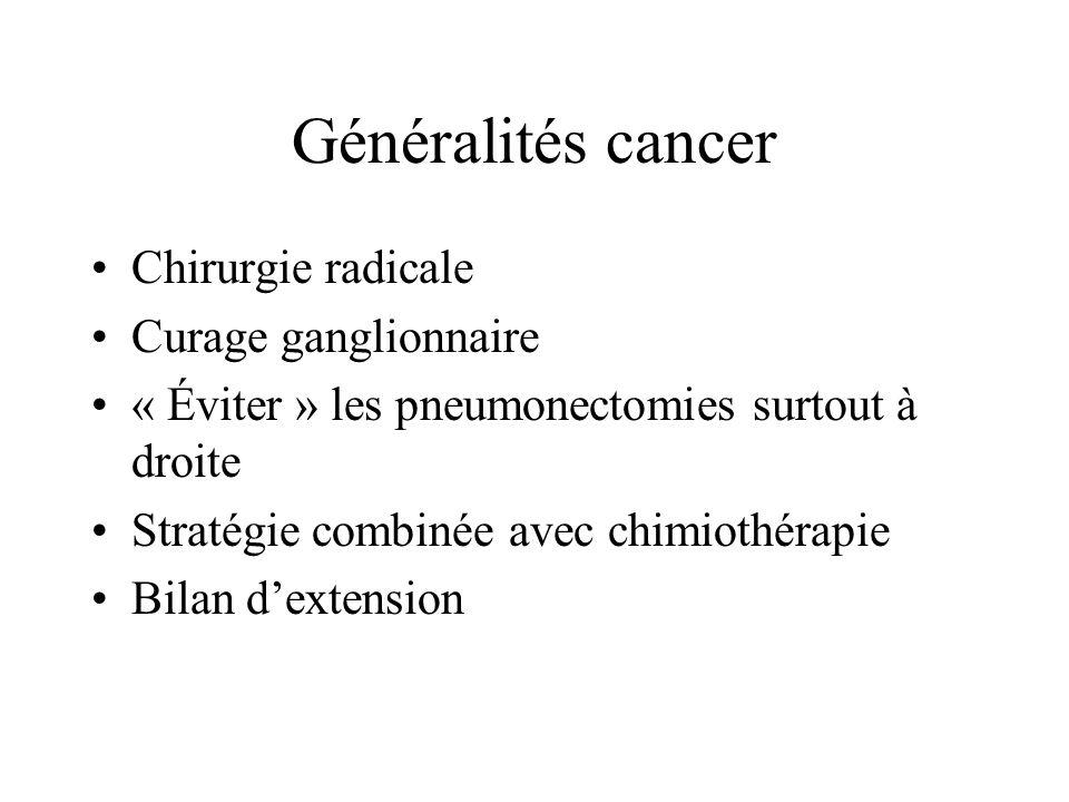 Généralités cancer Chirurgie radicale Curage ganglionnaire « Éviter » les pneumonectomies surtout à droite Stratégie combinée avec chimiothérapie Bilan dextension