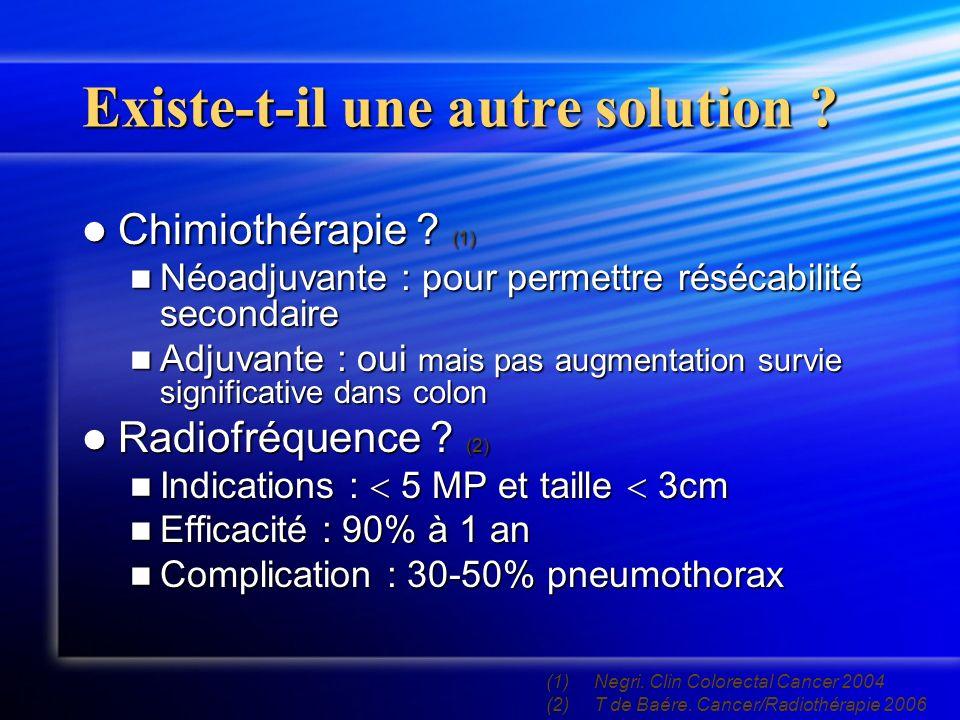 Existe-t-il une autre solution .Chimiothérapie . (1) Chimiothérapie .
