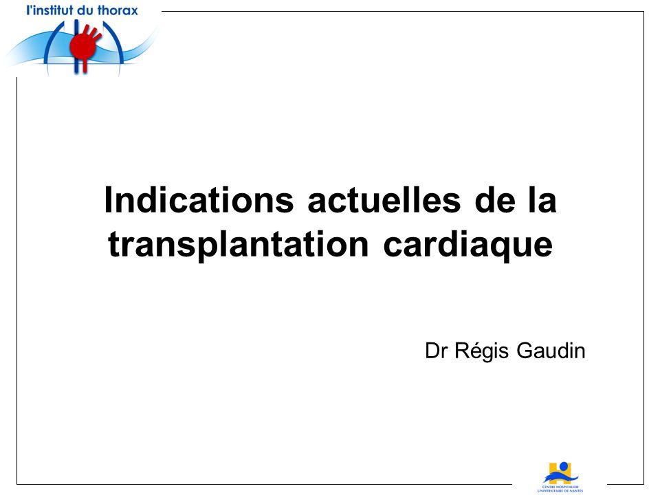 Indications actuelles de la transplantation cardiaque Dr Régis Gaudin
