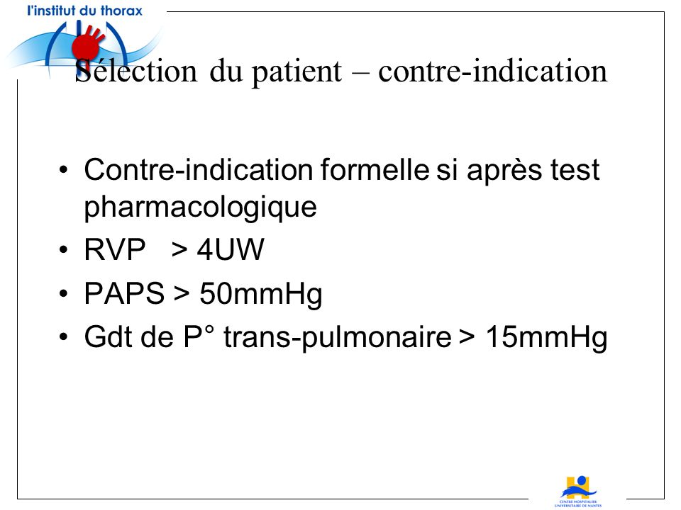 HTAP –mortalité à 3 mois en fonction des RVP sur 293 patients RVP de base < 2,5 UW 6,9% RVP de base > 2,5 UW 17,9% < 2,5 UW après test 3,8% < 2,5 UW a