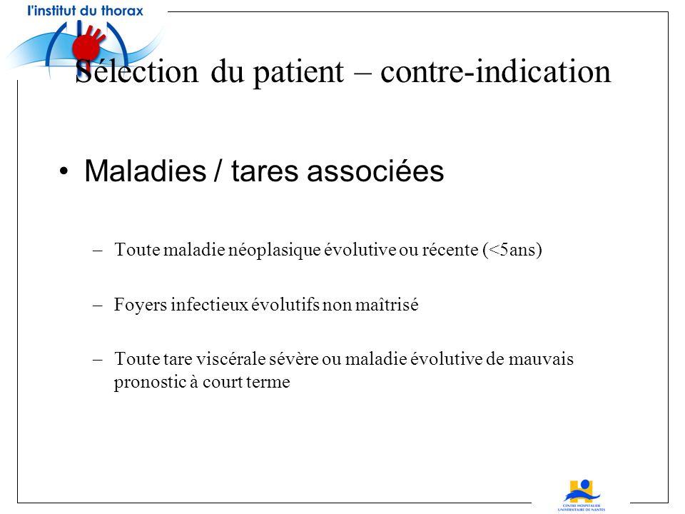 Contre-indication formelle si après test pharmacologique RVP > 4UW PAPS > 50mmHg Gdt de P° trans-pulmonaire > 15mmHg Sélection du patient – contre-ind