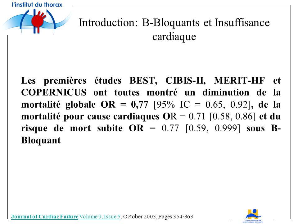 Les premières études BEST, CIBIS-II, MERIT-HF et COPERNICUS ont toutes montré un diminution de la mortalité globale OR = 0,77 [95% IC = 0.65, 0.92], de la mortalité pour cause cardiaques OR = 0.71 [0.58, 0.86] et du risque de mort subite OR = 0.77 [0.59, 0.999] sous B- Bloquant Journal of Cardiac FailureJournal of Cardiac Failure Volume 9, Issue 5, October 2003, Pages 354-363Volume 9, Issue 5 Introduction: B-Bloquants et Insuffisance cardiaque