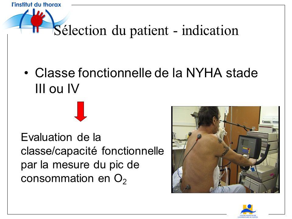 Sélection du patient - indication Classe fonctionnelle de la NYHA stade III ou IV Evaluation de la classe/capacité fonctionnelle par la mesure du pic de consommation en O 2