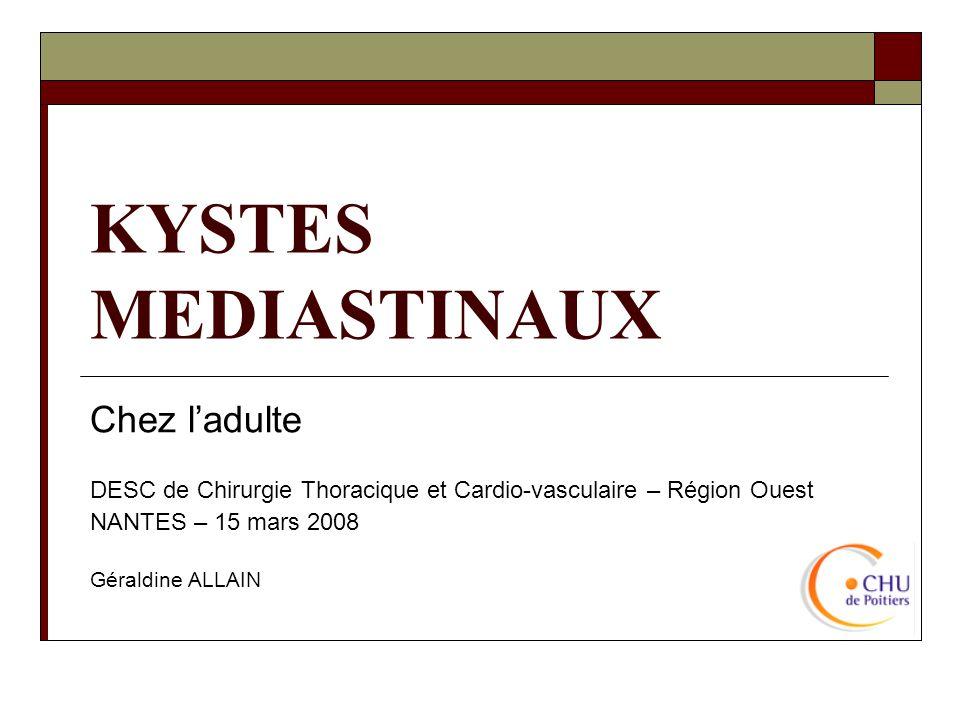 KYSTES MEDIASTINAUX Chez ladulte DESC de Chirurgie Thoracique et Cardio-vasculaire – Région Ouest NANTES – 15 mars 2008 Géraldine ALLAIN
