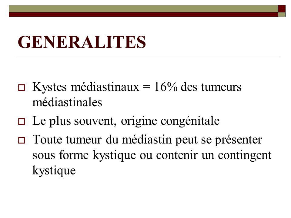 GENERALITES Kystes médiastinaux = 16% des tumeurs médiastinales Le plus souvent, origine congénitale Toute tumeur du médiastin peut se présenter sous