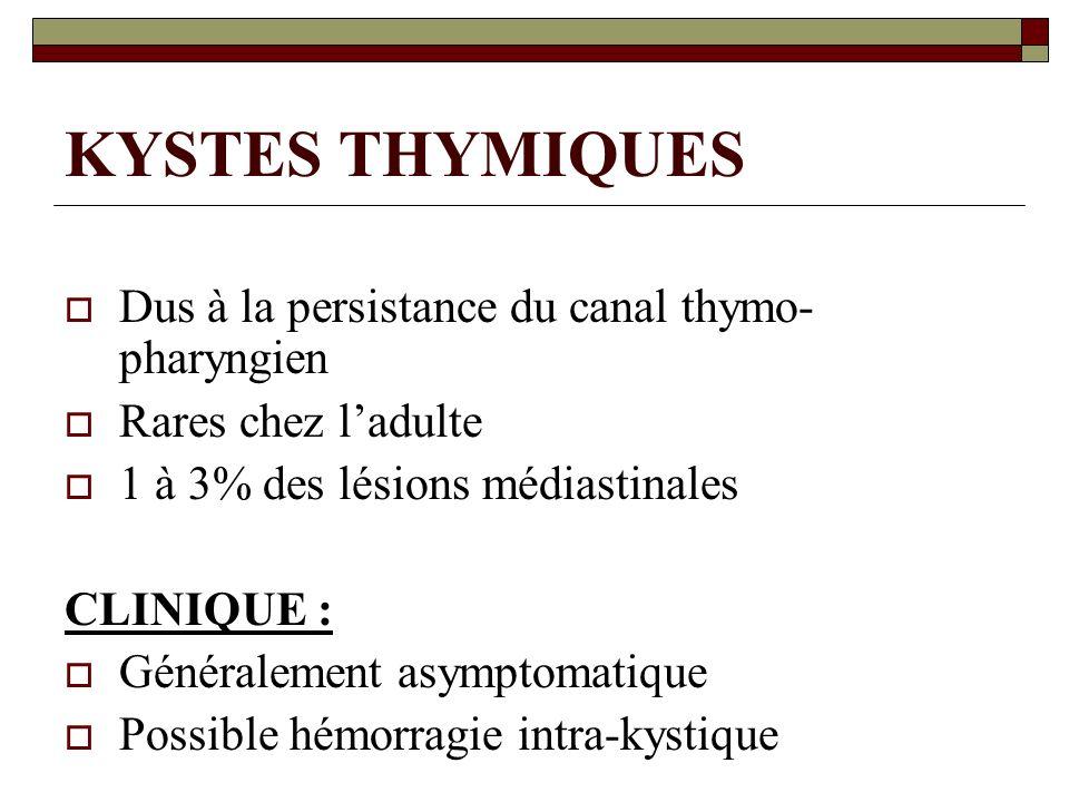 KYSTES THYMIQUES Dus à la persistance du canal thymo- pharyngien Rares chez ladulte 1 à 3% des lésions médiastinales CLINIQUE : Généralement asymptoma