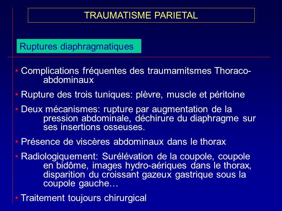 Ruptures diaphragmatiques Complications fréquentes des traumamitsmes Thoraco- abdominaux Rupture des trois tuniques: plèvre, muscle et péritoine Deux