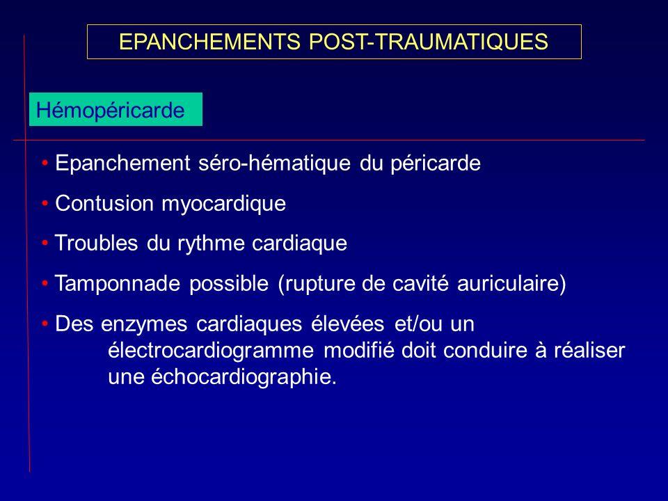 Hémopéricarde Epanchement séro-hématique du péricarde Contusion myocardique Troubles du rythme cardiaque Tamponnade possible (rupture de cavité auricu