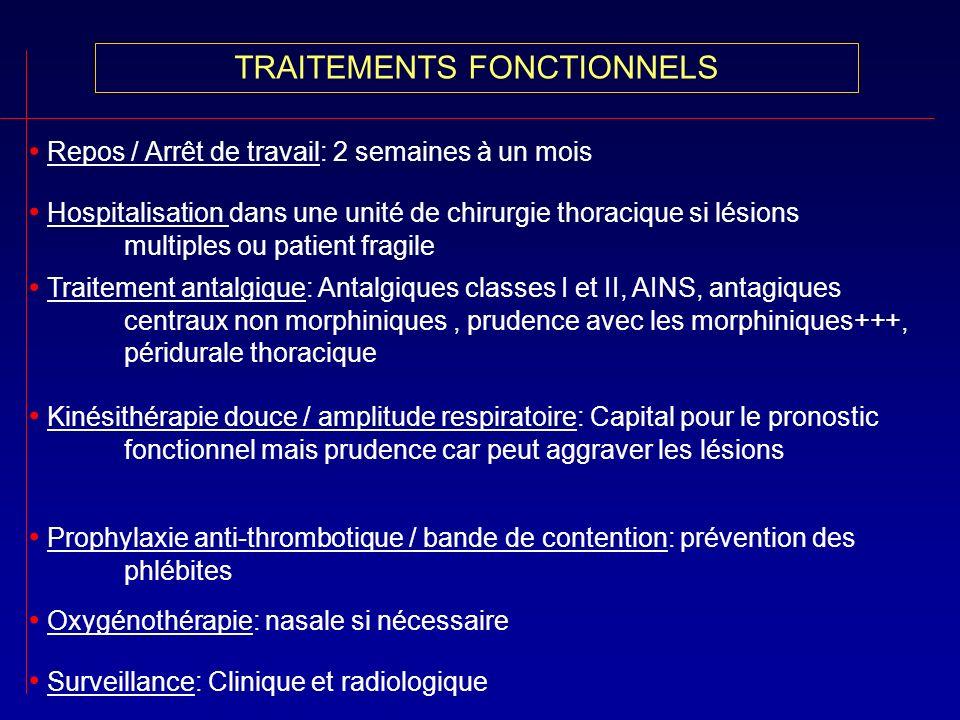 TRAITEMENTS FONCTIONNELS Traitement antalgique: Antalgiques classes I et II, AINS, antagiques centraux non morphiniques, prudence avec les morphinique