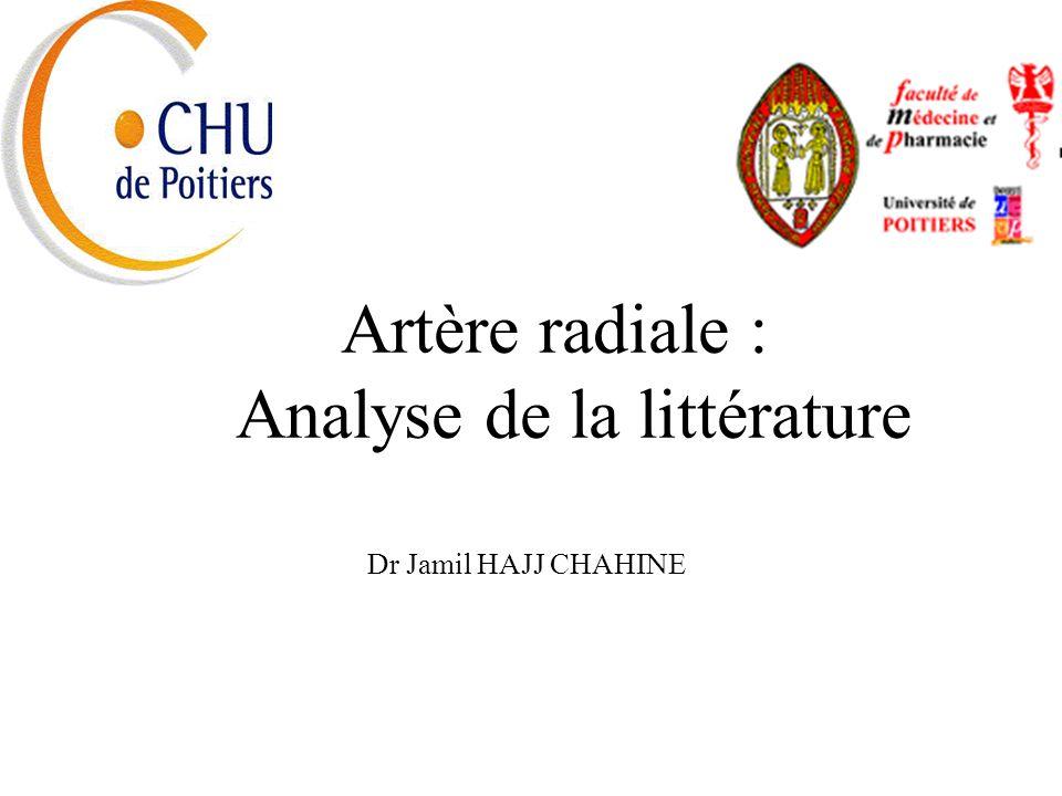 Artère radiale : Analyse de la littérature Dr Jamil HAJJ CHAHINE