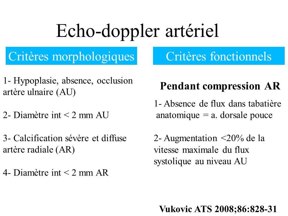 Echo-doppler artériel 1- Hypoplasie, absence, occlusion artère ulnaire (AU) 2- Diamètre int < 2 mm AU 3- Calcification sévère et diffuse artère radial