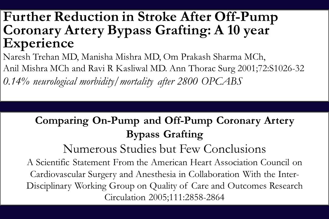 Further Reduction in Stroke After Off-Pump Coronary Artery Bypass Grafting: A 10 year Experience Naresh Trehan MD, Manisha Mishra MD, Om Prakash Sharm