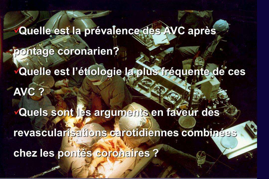 Études AVC / PACrisque (IC 95%) Études AVC / PACrisque (IC 95%) toutes 593259 / 190 4491.71 % (1.52-1.91) Prospectives 332122 / 106 2112.00 % (1.74-2.26) Rétrospectives 261137 / 84 2381.35 % (1.12-1.58) 1971-1985 18 666 / 45 4861.46 % (1.21-1.72) 1986-2000 41 2593 / 144 9631.79 % (1.54-2.04) PREVALENCE des AVC après pontage coronarien Eur J Vasc Endovasc Surg 2002 Eur J Vasc Endovasc Surg 2002