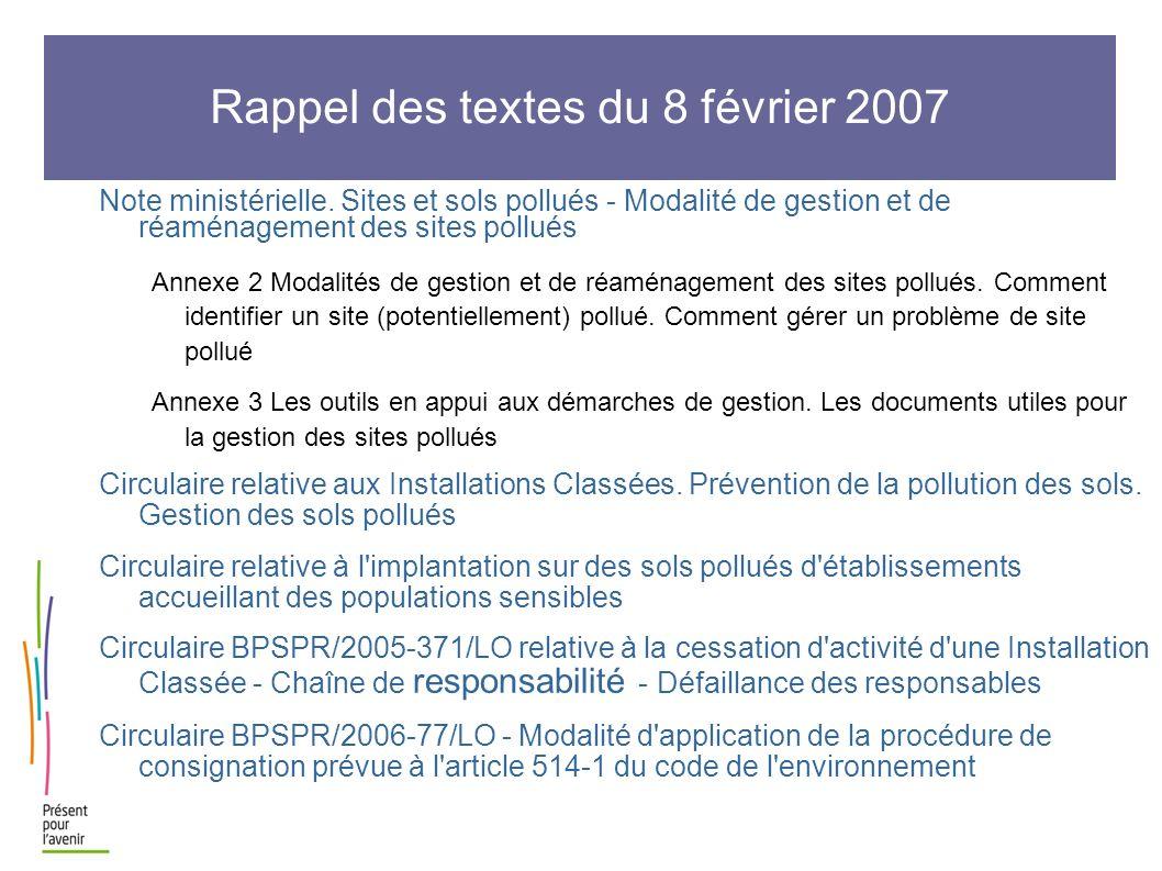Rappel des textes du 8 février 2007 Note ministérielle. Sites et sols pollués - Modalité de gestion et de réaménagement des sites pollués Annexe 2 Mod