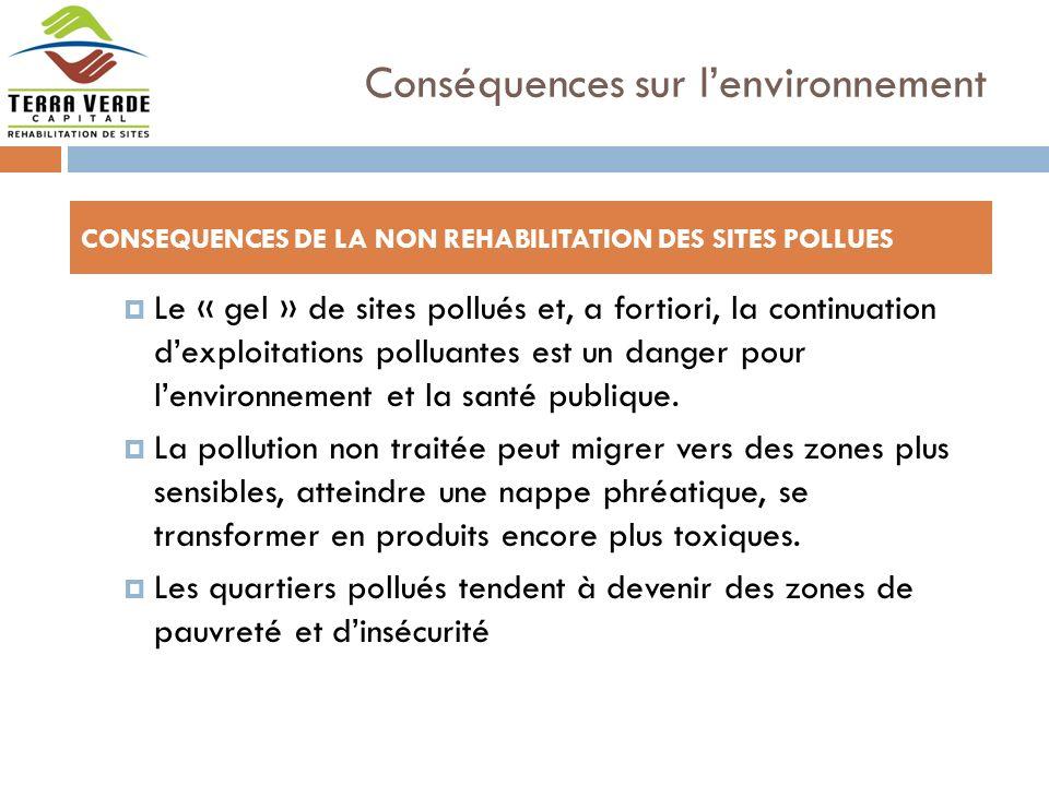 Le « gel » de sites pollués et, a fortiori, la continuation dexploitations polluantes est un danger pour lenvironnement et la santé publique.
