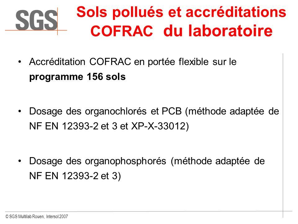 © SGS Multilab Rouen, Intersol 2007 Accréditation COFRAC en portée flexible sur le programme 156 sols Dosage des organochlorés et PCB (méthode adaptée