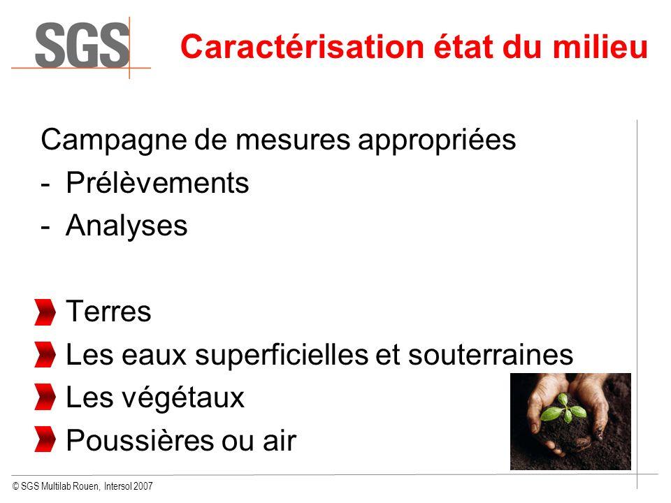 © SGS Multilab Rouen, Intersol 2007 Caractérisation état du milieu Campagne de mesures appropriées -Prélèvements -Analyses Terres Les eaux superficiel