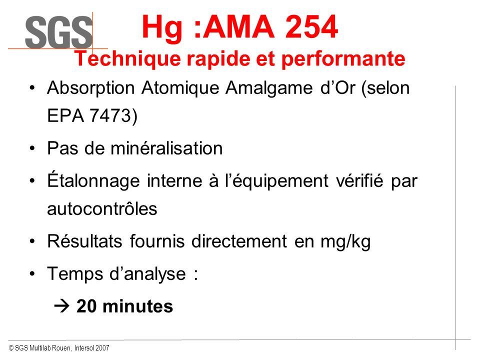 © SGS Multilab Rouen, Intersol 2007 Hg :AMA 254 Technique rapide et performante Absorption Atomique Amalgame dOr (selon EPA 7473) Pas de minéralisatio