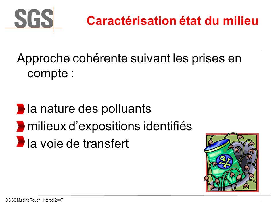 © SGS Multilab Rouen, Intersol 2007 Approche cohérente suivant les prises en compte : la nature des polluants milieux dexpositions identifiés la voie
