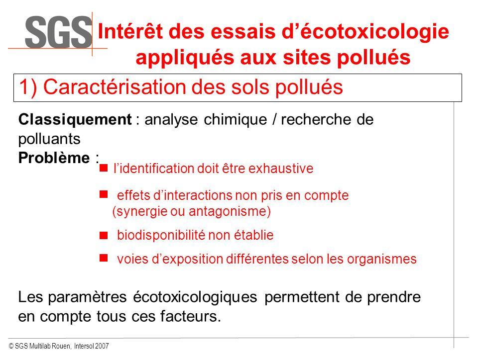 © SGS Multilab Rouen, Intersol 2007 Intérêt des essais décotoxicologie appliqués aux sites pollués 1) Caractérisation des sols pollués Classiquement :