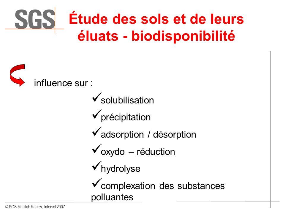 © SGS Multilab Rouen, Intersol 2007 Étude des sols et de leurs éluats - biodisponibilité influence sur : solubilisation précipitation adsorption / dés