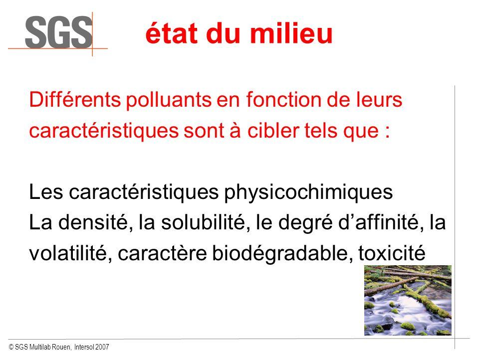 © SGS Multilab Rouen, Intersol 2007 Différents polluants en fonction de leurs caractéristiques sont à cibler tels que : Les caractéristiques physicoch