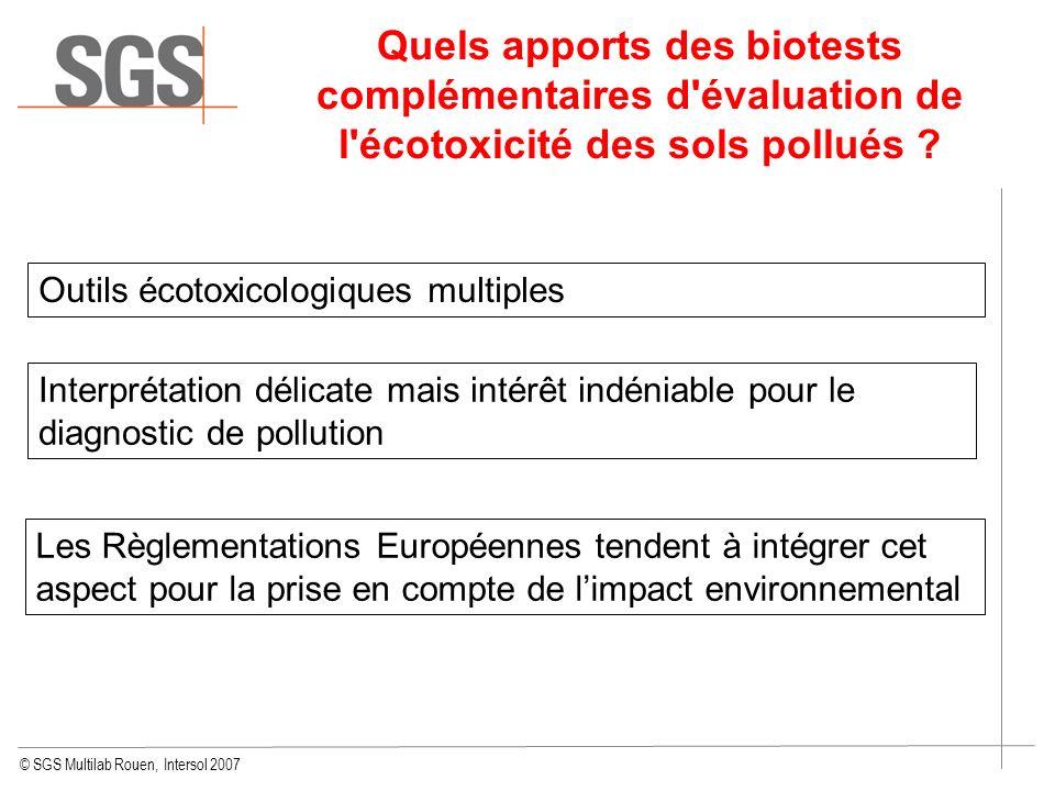 © SGS Multilab Rouen, Intersol 2007 Quels apports des biotests complémentaires d'évaluation de l'écotoxicité des sols pollués ? Les Règlementations Eu