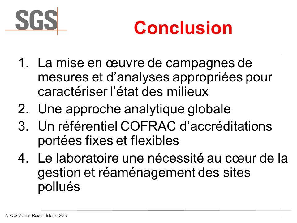 © SGS Multilab Rouen, Intersol 2007 Conclusion 1.La mise en œuvre de campagnes de mesures et danalyses appropriées pour caractériser létat des milieux