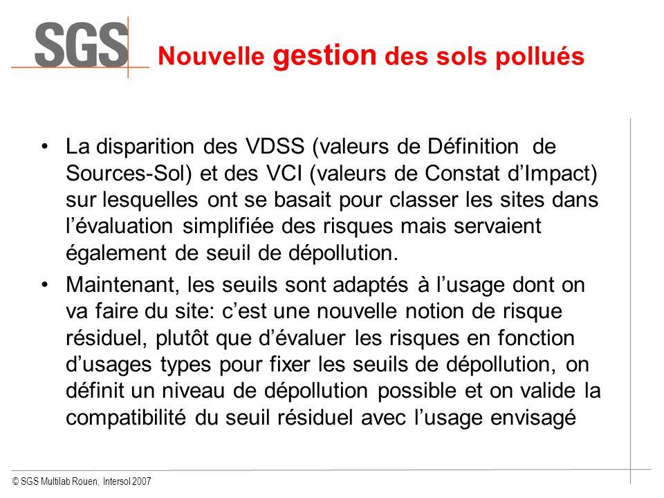 © SGS Multilab Rouen, Intersol 2007 Nouvelle gestion des sols pollués La disparition des VDSS (valeurs de Définition de Sources-Sol) et des VCI (valeu