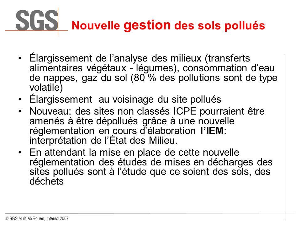 © SGS Multilab Rouen, Intersol 2007 Élargissement de lanalyse des milieux (transferts alimentaires végétaux - légumes), consommation deau de nappes, g