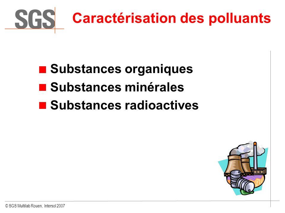 © SGS Multilab Rouen, Intersol 2007 Caractérisation des polluants Substances organiques Substances minérales Substances radioactives