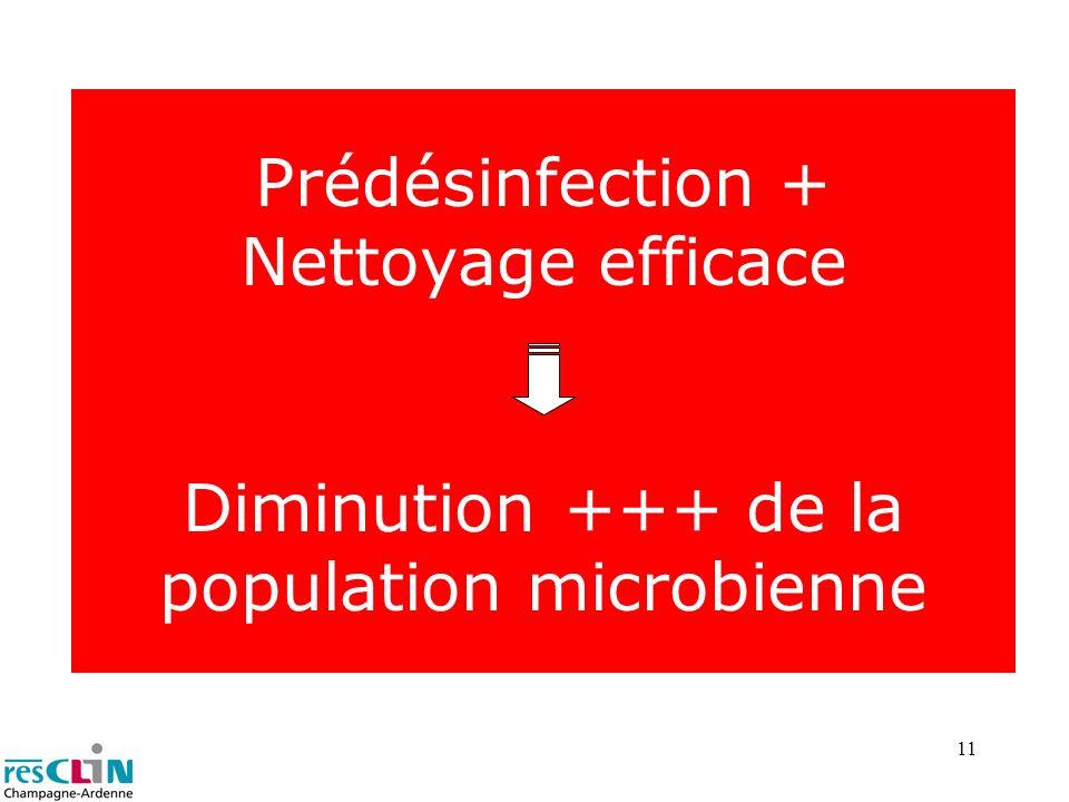 11 Prédésinfection + Nettoyage efficace Diminution +++ de la population microbienne