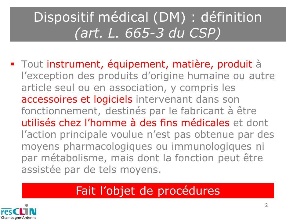 2 Dispositif médical (DM) : définition (art. L. 665-3 du CSP) Tout instrument, équipement, matière, produit à lexception des produits dorigine humaine