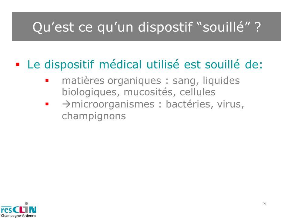 3 Quest ce quun dispostif souillé ? Le dispositif médical utilisé est souillé de: matières organiques : sang, liquides biologiques, mucosités, cellule