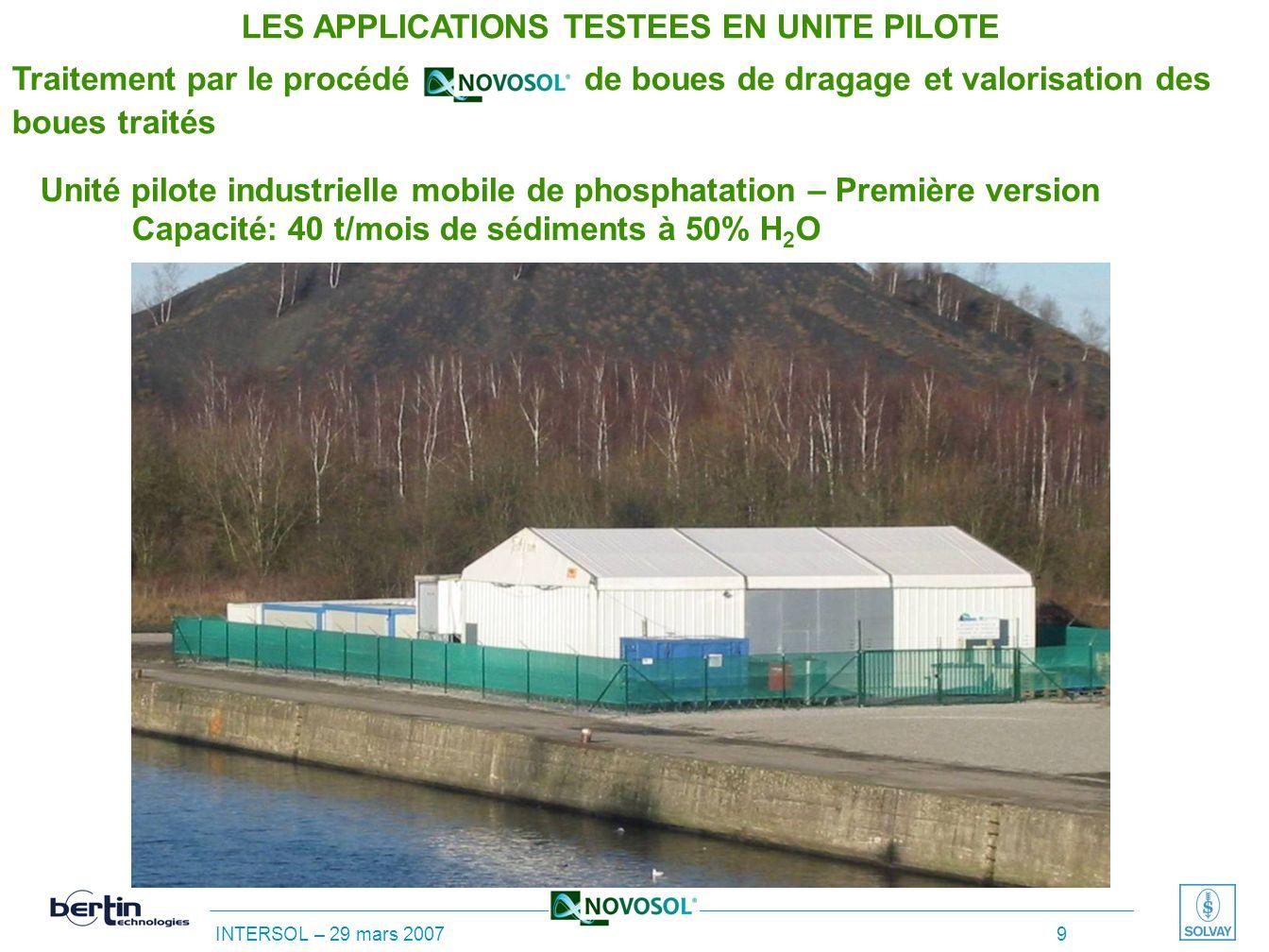 INTERSOL – 29 mars 2007 8 Unité pilote industrielle de phosphatation – Schéma de principe Capacité: 40 t/mois de sédiments à 50% H 2 O LES APPLICATION