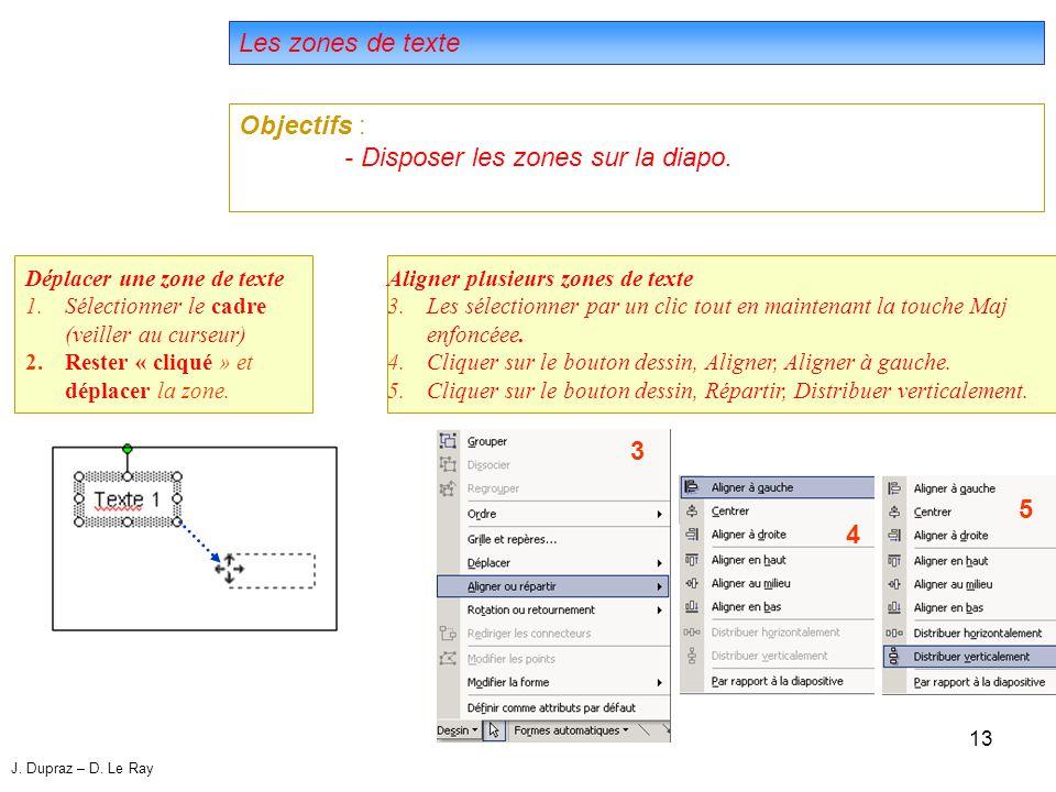 13 Les zones de texte Objectifs : - Disposer les zones sur la diapo.