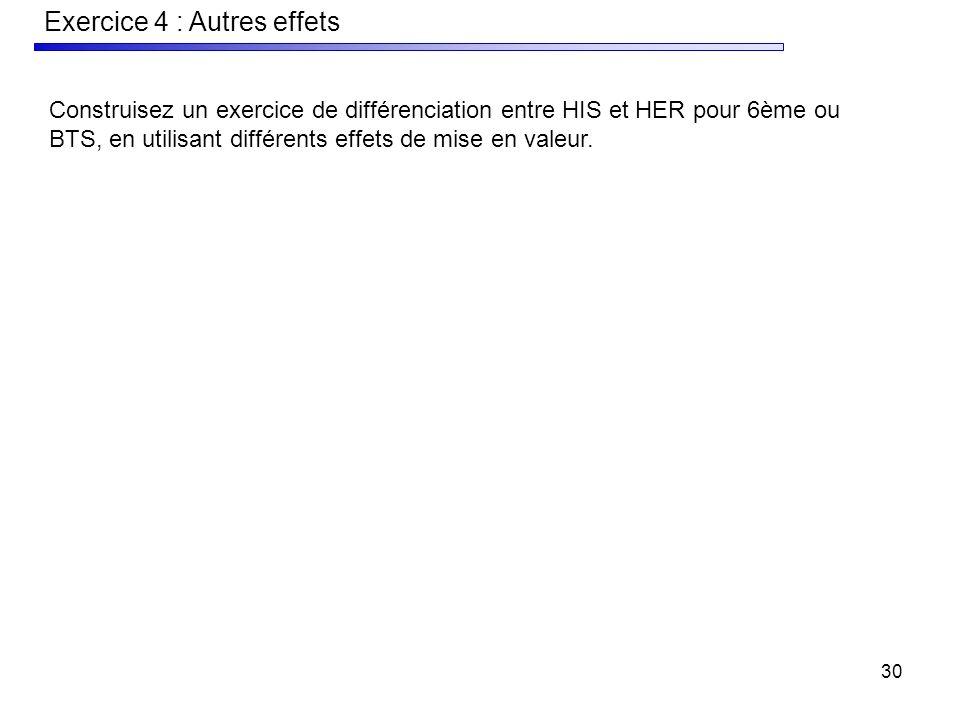 30 Exercice 4 : Autres effets Construisez un exercice de différenciation entre HIS et HER pour 6ème ou BTS, en utilisant différents effets de mise en valeur.