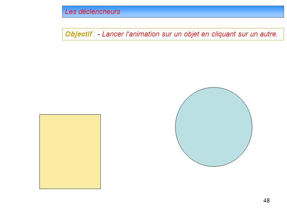 48 Les déclencheurs Objectif : - Lancer l animation sur un objet en cliquant sur un autre.
