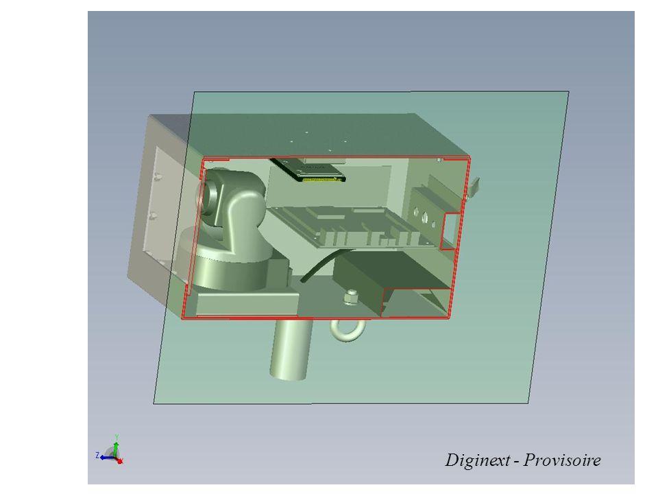 Coffret inviolable (10kg) PC industriel Batterie (Li-ion) Objectif (zoom, distance) Caméra (PAL numérisé IEEE 1394) GPS ( localisation sur la carte) Projecteur infrarouge Fixation universelle GPRS (pendant la campagne: données/photos des contrevenants) WiFi (contrôle à la mise en oeuvre: vidéo/photos/données) Face en composite Tourelle (Site, azimut) Vitre