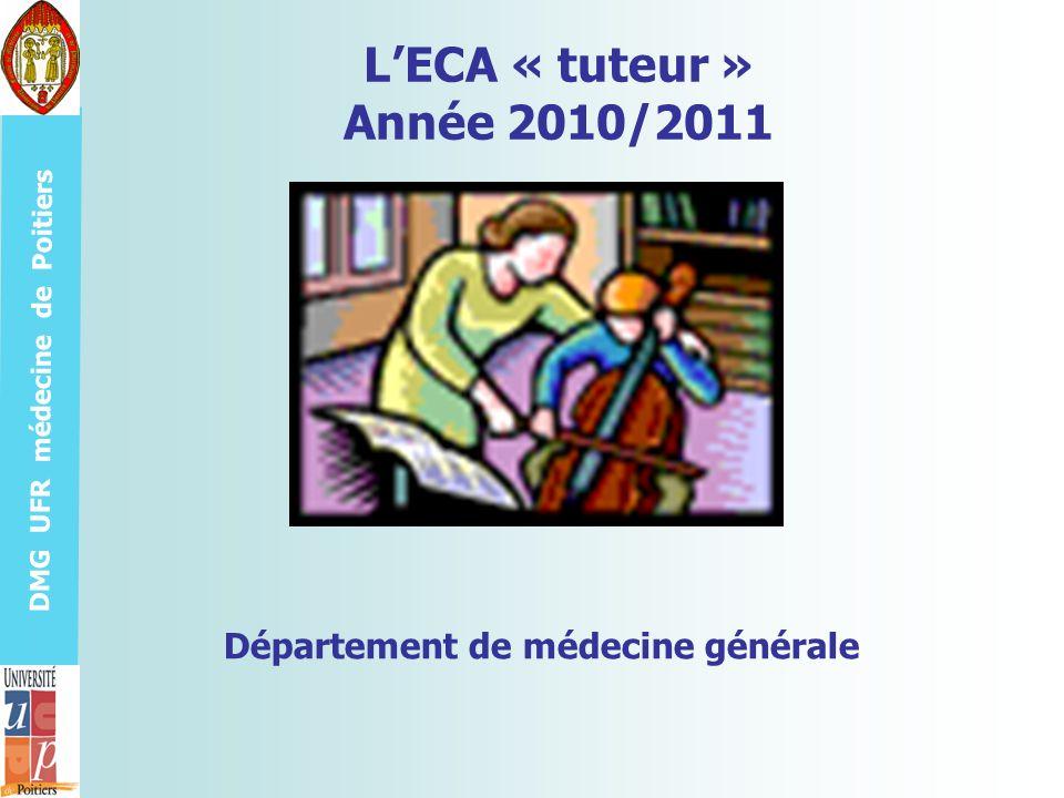DMG UFR médecine de Poitiers Le tuteur est avant tout ECA… Un ECA qui tend vers lexpertise .