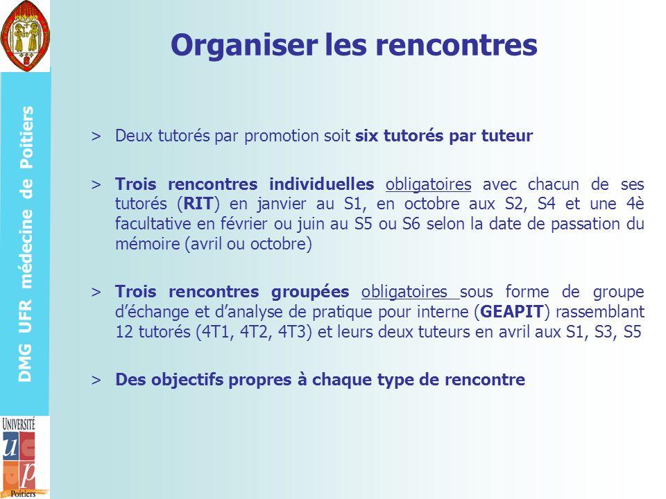 DMG UFR médecine de Poitiers Organiser les rencontres >Deux tutorés par promotion soit six tutorés par tuteur >Trois rencontres individuelles obligato