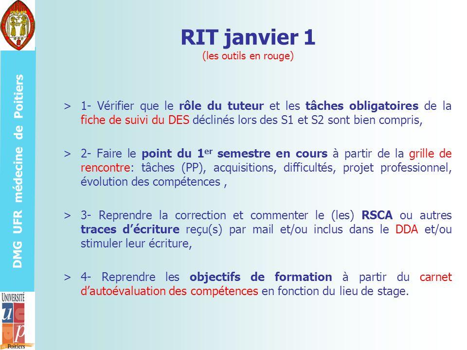 DMG UFR médecine de Poitiers RIT janvier 1 (les outils en rouge) >1- Vérifier que le rôle du tuteur et les tâches obligatoires de la fiche de suivi du