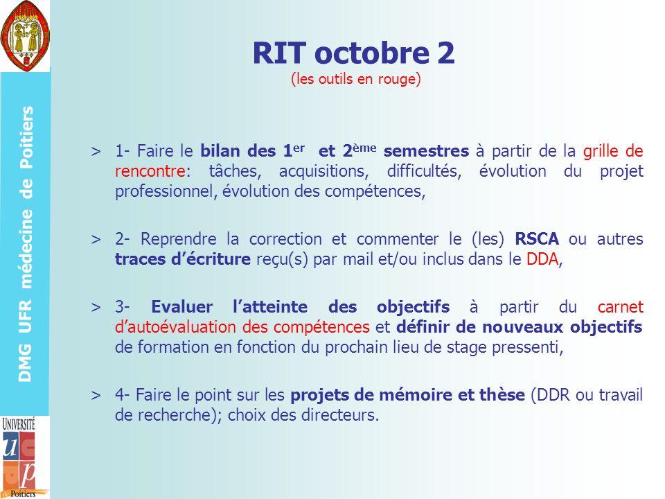 DMG UFR médecine de Poitiers RIT octobre 2 (les outils en rouge) >1- Faire le bilan des 1 er et 2 ème semestres à partir de la grille de rencontre: tâ