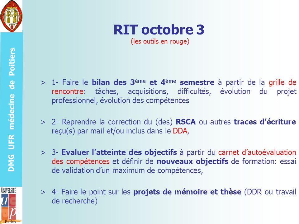 DMG UFR médecine de Poitiers RIT octobre 3 (les outils en rouge) >1- Faire le bilan des 3 ème et 4 ème semestre à partir de la grille de rencontre: tâ