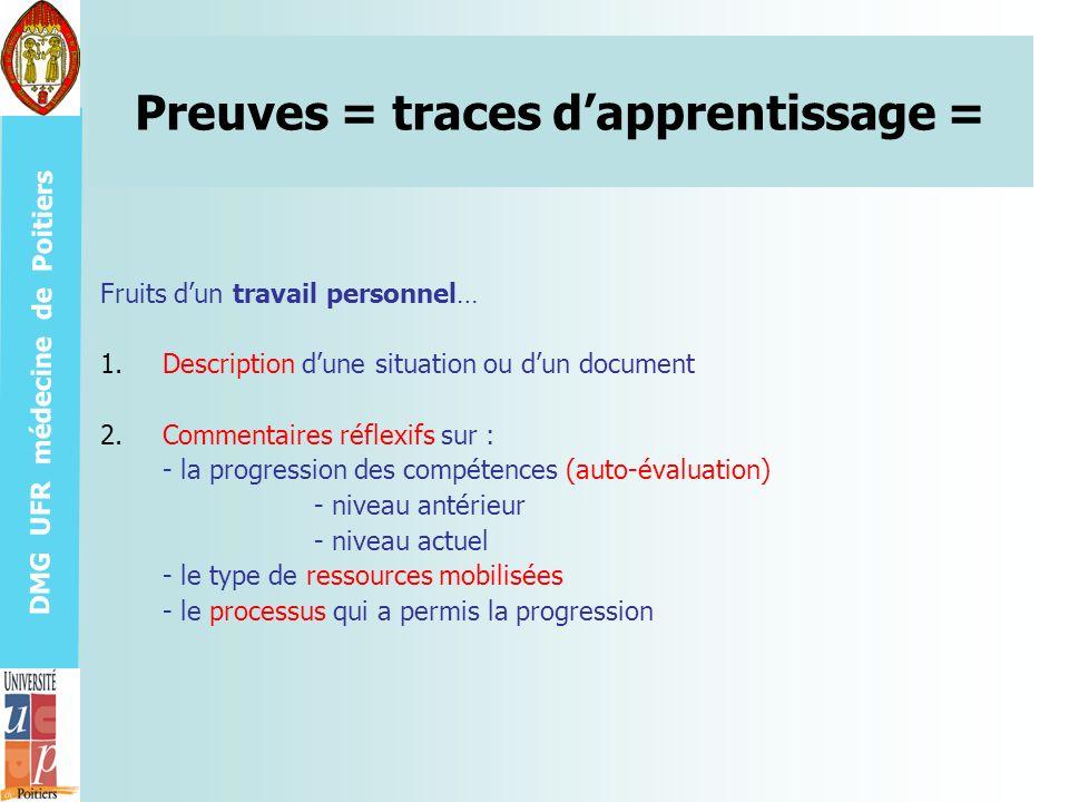 DMG UFR médecine de Poitiers Preuves = traces dapprentissage = Fruits dun travail personnel… 1.Description dune situation ou dun document 2.Commentair