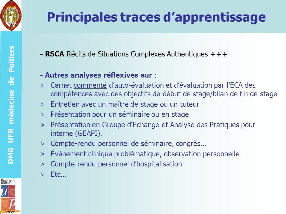 DMG UFR médecine de Poitiers Principales traces dapprentissage - Autres analyses réflexives sur : >Carnet commenté dauto-évaluation et dévaluation par