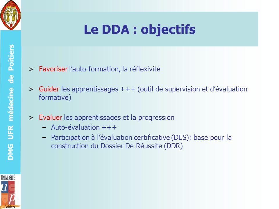 DMG UFR médecine de Poitiers Le DDA : objectifs >Favoriser lauto-formation, la réflexivité >Guider les apprentissages +++ (outil de supervision et dév