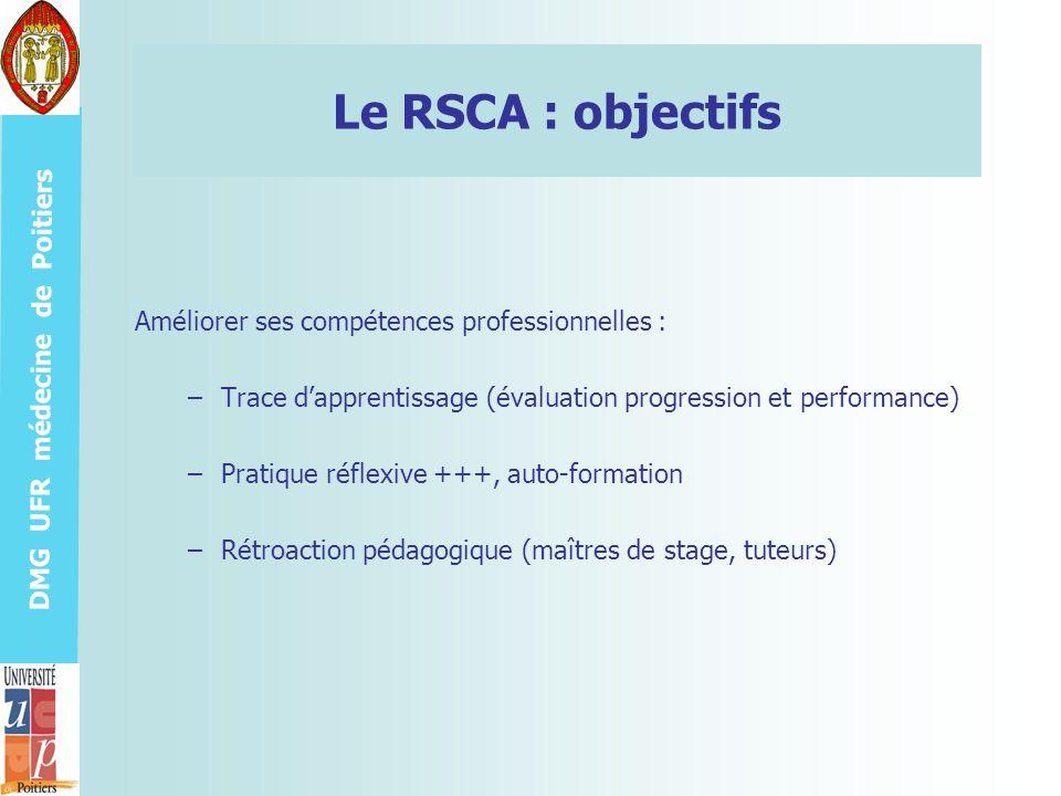 DMG UFR médecine de Poitiers Le RSCA : objectifs Améliorer ses compétences professionnelles : –Trace dapprentissage (évaluation progression et perform