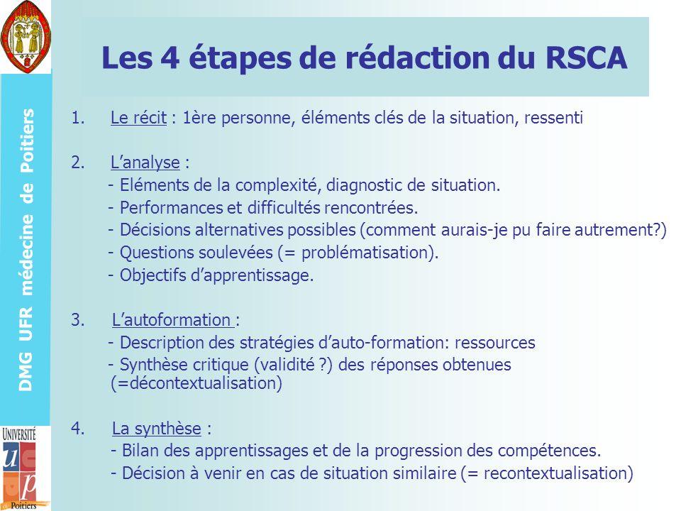 DMG UFR médecine de Poitiers Les 4 étapes de rédaction du RSCA 1.Le récit : 1ère personne, éléments clés de la situation, ressenti 2.Lanalyse : - Elém