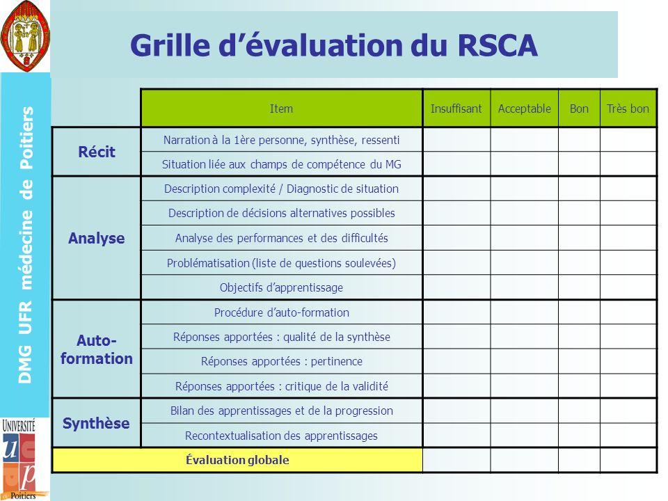 DMG UFR médecine de Poitiers Grille dévaluation du RSCA ItemInsuffisantAcceptableBonTrès bon Récit Narration à la 1ère personne, synthèse, ressenti Si